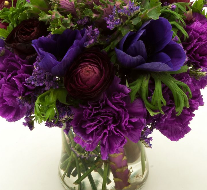 the artworks, yeg flowers, delivery, purple kale, anemones, ranunculus, carnations