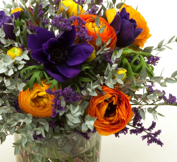the artworks, yeg flowers, delivery, orange ranunculus, purple anemones, limonium, eucalyptus