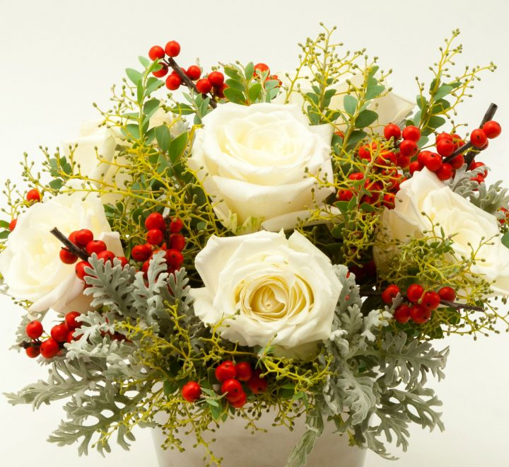 flowers, Ilex berries, roses, Christmas
