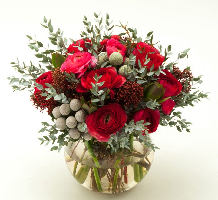 the artworks, yeg flowers, delivery, ranunculus, red skimmer, silver brunia, eucalyptus