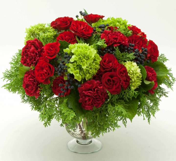 flowers, hydrangea, roses, carnations