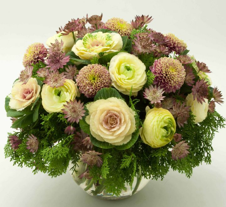 the artworks, yeg flowers, delivery, ranunculus, astrantia, mums, holland kale, arbavada cedar