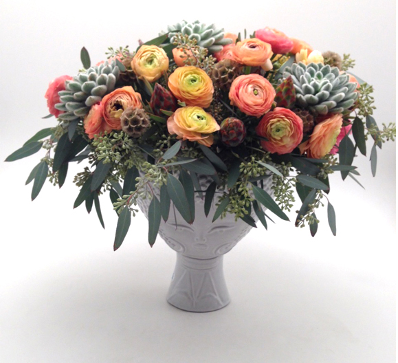 the artworks, yeg flowers, delivery, ranunculus, eucalyptus, Jonathan Adler