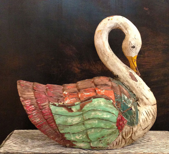 the artworks, found objects, folk art swan