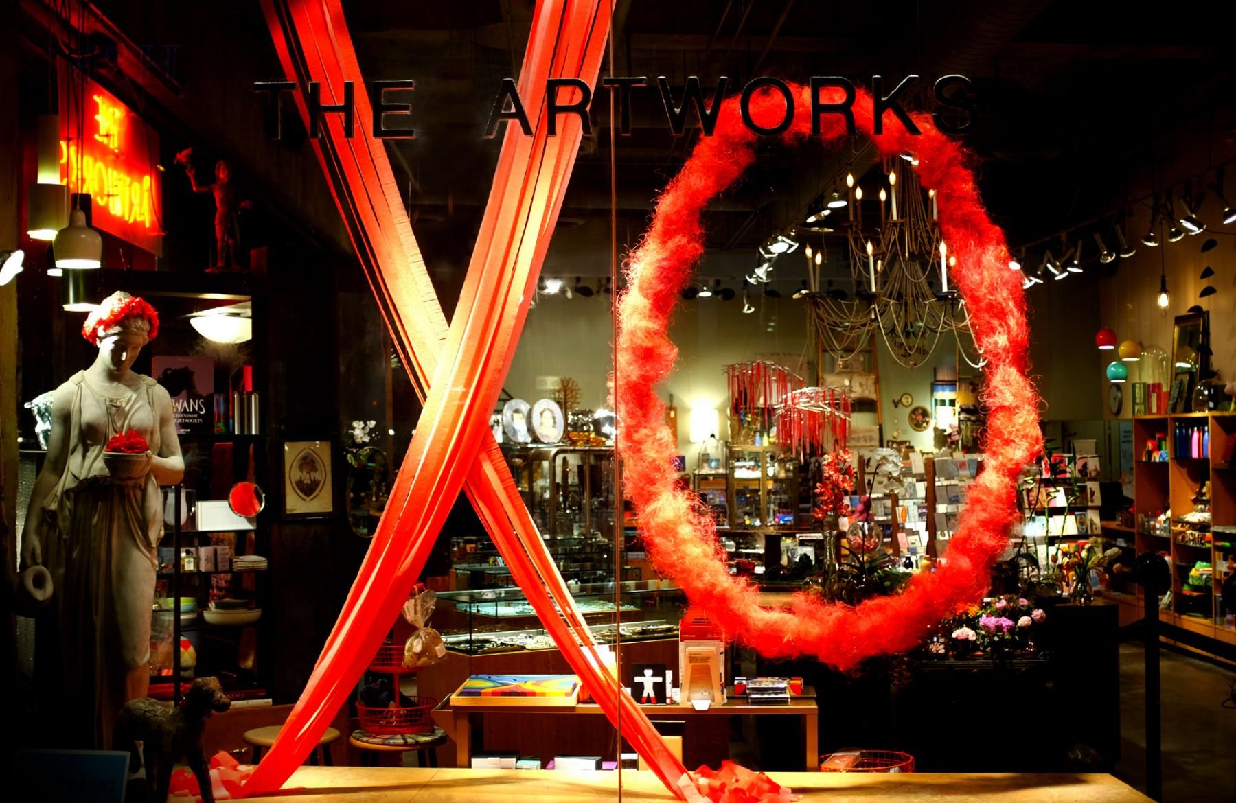 thearworks valentines xo windows yeg downtown